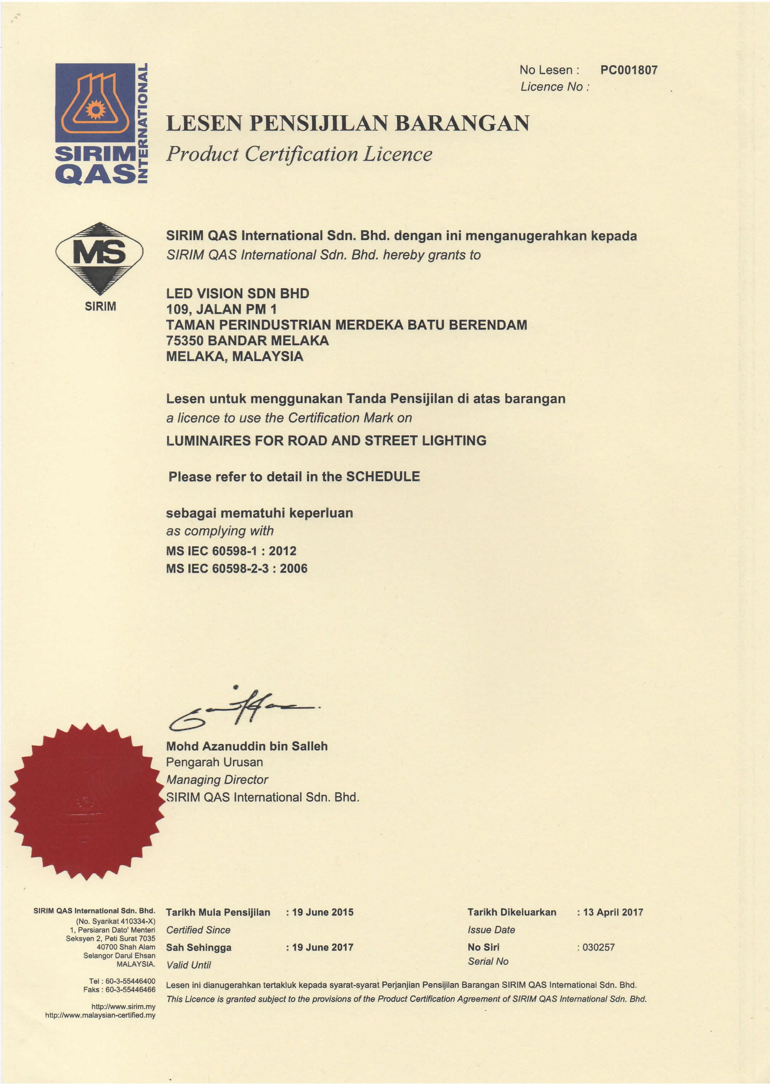 I Car Certification >> PLM LED STREET LIGHT G2 / LED Vision Malaysia | AdvanLED